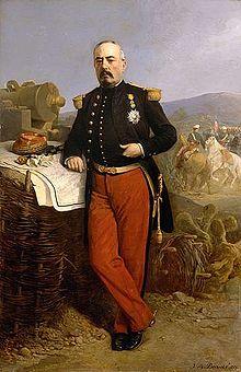 François Achille Bazaine en campagne au Mexique.Portrait par Jean-Adolphe Beaucé