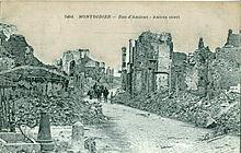 Carte postale ancienne montrant les destructions de la Première Guerre mondiale