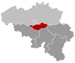 Locatie van de provincie Waals-Brabant