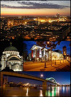 Collage de Belgrado. De arriba a abajo y de izquierda a derecha: oeste de Novi Beograd con la Torre Genex, el Templo de San Sava con el monumento a Karađorđe Petrović, el Teatro Dramático de Yugoslavia el Beograđanka a la derecha, y el puente Sava.