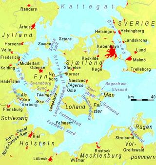 Carte des détroits du Danemark avec le Petit Belt (Lillebælt) entre le Jutland (Jylland) et la Fionie (Fyn).