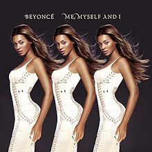 """The image of a brunette woman repeated three times. She is looking forward by her left side and she wears a long white dress. The background is dark and the words """"Beyoncé"""" and """"Me, Myself and I"""" are written in white capital letters."""