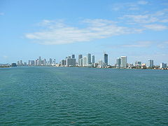 Biscayne Bay - View of northern Biscayne Bay from I-195, showing the Downtown Miami skyline in the background, May 2008.