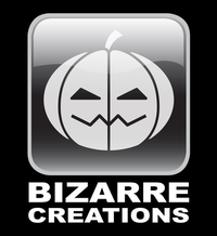 """A white jack-o&squot;-lantern in a rounded, square, black, glass button with white """"Bizarre"""" then """"Creations"""" below, all on a black background."""