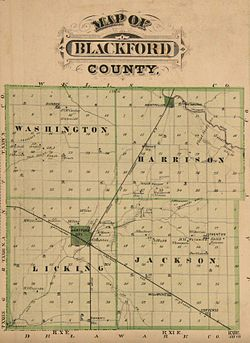 1876 map showing Blackford County. One line moves north–south through Hartford City and Montpelier, and the other moves east–west through Hartford City.