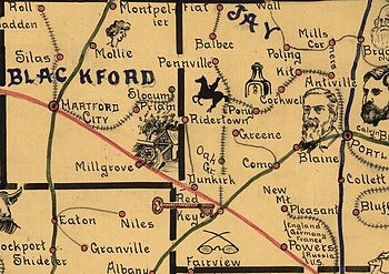 Old map from 1880s with drawings