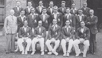 A cricket team arranged in three rows. Seventeen men are dressed as players, the other three men are in suits.
