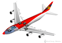 Cutaway rendering of a 747, showing internal seating and landing gear.