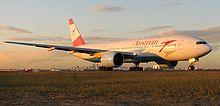 Een Boeing 777-200ER van Austrian