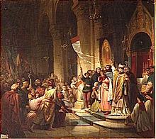 Boniface de Montferrat élu chef de la quatrième croisade, Soissons, 1201. (Henri Decaisne, Salles des croisades, Versailles).