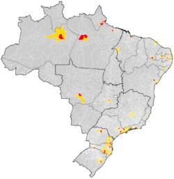 Mapa do Brasil com a localização das regiões metropolitanas (municípios pricipais em vermelho e os outros da RM em amarelo).