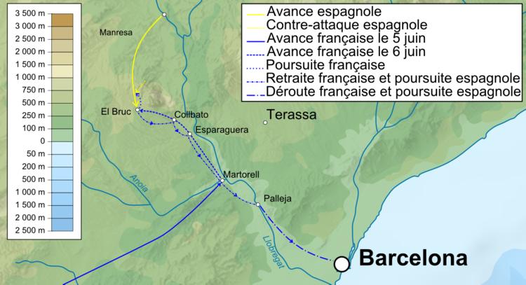 Mouvements français et espagnols lors du 1° combat d'El Bruch