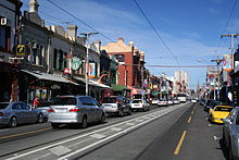 Brunswick Street looking southeast, towards Melbourne city