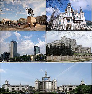 De haut en bas et de gauche à droite: place de la Révolution, palais Crețulescu, Piața Victoriei, palais du Parlement et Casa Presei Libere.