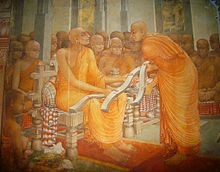 Buddhaghosa offering the Visuddhimagga to the chief monk