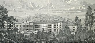 Gravure en noir et blanc de la clinique psychiatrique universitaire de Zurich, surnommée le Burghölzli, vers 1890. Il s'agit d'une grande bâtisse que découvre, au premier plan, une forêt.