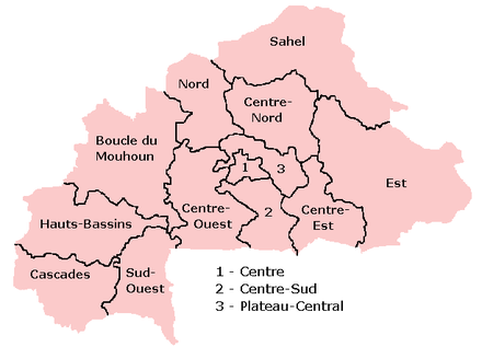 A clickable map of Burkina Faso exhibiting its 13 administrative regions.