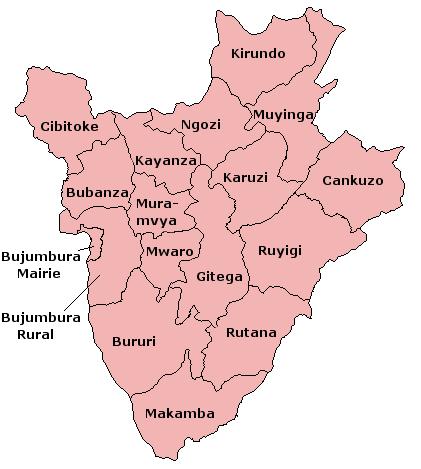 A clickable map of Burundi exhibiting its seventeen provinces.
