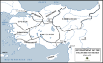 Map of Byzantine Empire showing the themes in circa 650