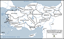 Map of Byzantine Empire showing the themes in circa 950