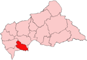 Location of Lobaye Prefecture in the Central African Republic