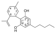 Chemical structure of a CBD-type cannabinoid.