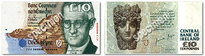 Front and back of a specimen 10 note. Joyce's face covers the right third of the front. The back has an anonymous ancient face and says 'CENTRAL BANK OF IRELAND'.