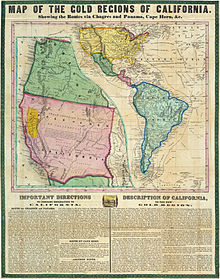 Routes to California via Mexico, Panama and Cape Horn, 1849
