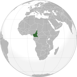 Location of Cameroon on a globe