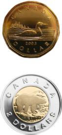 One-dollar coin (loonie) and two-dollar coin (toonie)