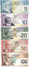 Current Canadian Banknotes (New Polymer $100 and $50 bills are now in circulation, as of November 2011 and March 2012, respectively)
