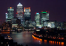 Canary Wharf at night, from Shadwell cropped.jpg