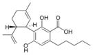 Chemical structure of cannabidiolic acid.