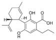Chemical structure of cannabidivarinic acid.