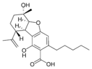 Chemical structure of cannabielsoic acid B.