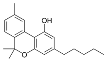 Chemical structure of cannabinol.