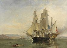 Oil painting of a naval battle, a small sailing warship in the centre of the painting, close to the stern of a larger warship, covered with climbing figures, to the right. Wreckage and a man float in the foreground, with the background of distant hills and some sailing vessels.