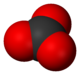 Space-filling model of the carbonate ion