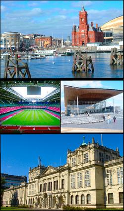 Dans le sens des aiguilles d'une montre en partant du haut: baie de Cardiff, Assemblée nationale de Galles, université de Cardiff et Millennium Stadium.