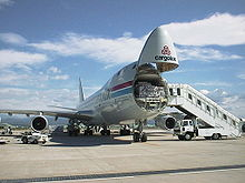 Cargolux 747-400F with the nose loading door open