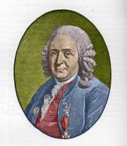Carl Linnaeus met een linnaeusklokje op het revers