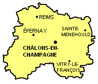 Localisation de Sainte-Menehould parmi les chefs-lieux d'arrondissement de la Marne