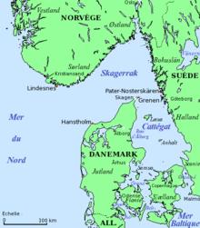 Carte du Cattégat et du Skagerrak.