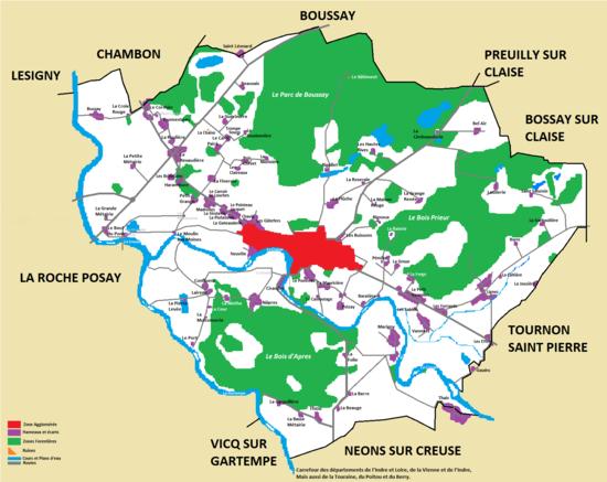 Carte d'Yzeures sur Creuse
