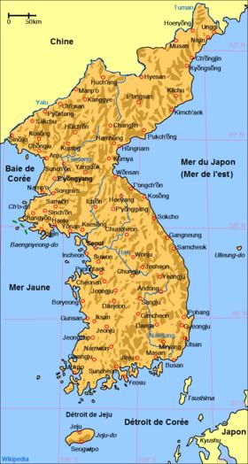 Carte de la Corée.