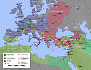 A map of the Mediterranean, with the routes of Hugh I of Vermandois, Godfrey of Bouillon, Bohemond of Taranto, Raymond IV of Toulouse, Robert Curthose, and Baldwin of Boulogne highlighted. The major Christian and Muslim empires at the time of the crusade are also highlighted. Major battles in Asia Minor are marked.
