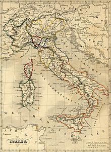 Représentation géographique des États italiens en 1843