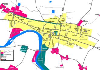 Carte du bourg d'Yzeures sur Creuse