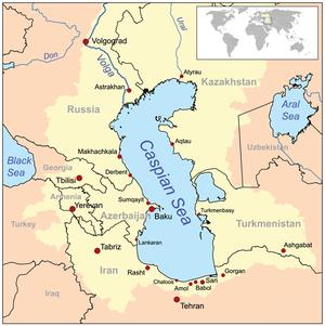 Mapa de la zona. La población alrededor del mar Caspio es importante, además es una fuente de recursos importante para la región