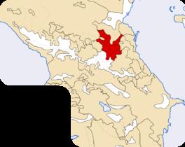 Locatie van de Tsjetsjenen in de Kaukasus